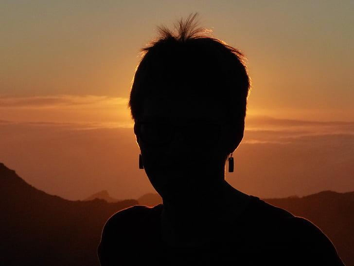 silueta, responsable, humà, persona, torna la llum, dona, posta de sol