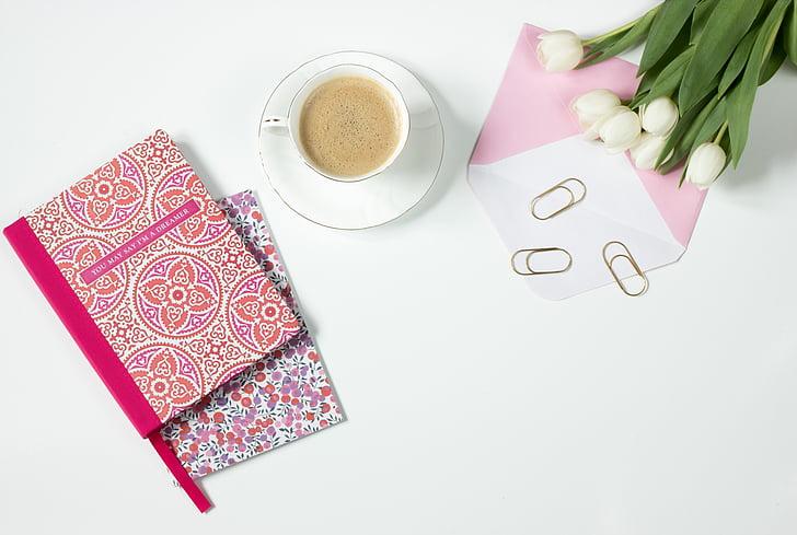 cafè, flors, Llibreta, escriptori, Oficina, l'embolcall, Expresso