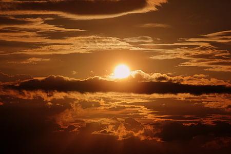 pôr do sol, sol, raio de sol, abendstimmung, céu da noite, pôr do sol, nuvens