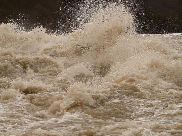 víz, magas víz, zuhatag, Fecskendezzünk be, rétes, spray, kockázat
