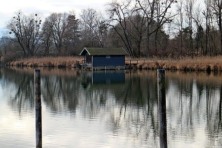 casa del vaixell, aigües, l'aigua, Banc, natura, arbres, tardor