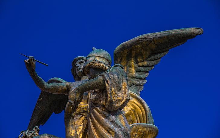 Ангел, синій, Синє небо, Статуя, крило, скульптура, Архітектура