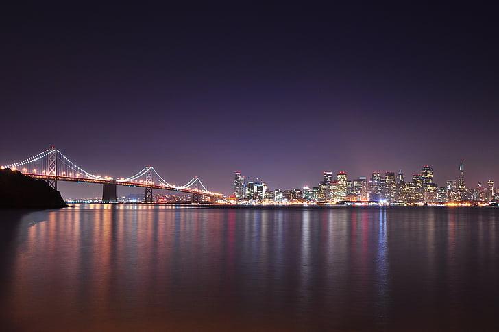 beautiful, bridge, city, lighting, river, skyline, suspension bridge