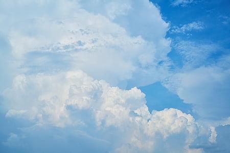 cloud, sky, white, clouds, landscape, summer, blue