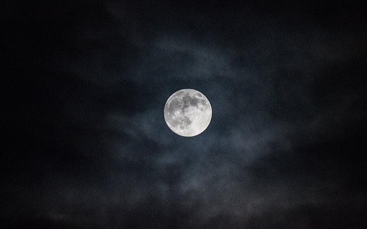 місяць, ніч, повний місяць, небо, повний місяць, місячній поверхні, Нічне небо