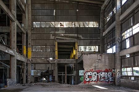 graffiti, elhagyott gyárban, elhagyott, gyári, ipari, építési, régi