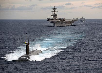 submarine, aircraft carrier, battleship, convoy, navy, sea, military