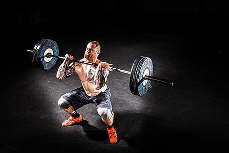 Barbell, culturisme, effort, exercice, remise en forme, salle de gym, homme