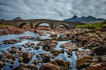 bridge, scotland, sky, blue, water, masonry, clouds