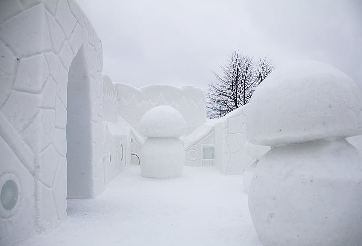 neige, ville, hiver, neigeux, porte, mur de neige, champignon de neige