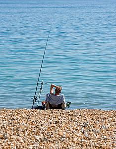 visserij, man, strand, ontspannen, zee, Oceaan, blauw