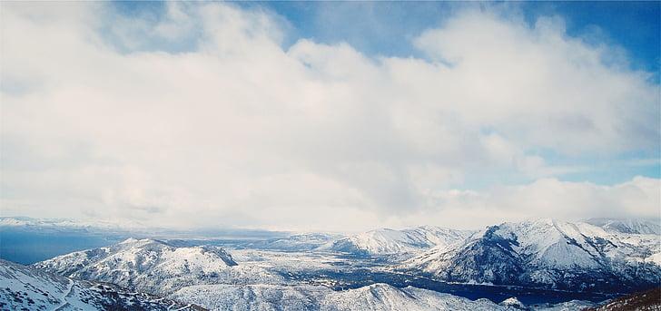 maastik, mäed, lumi, sinine, taevas, pilved, talvel