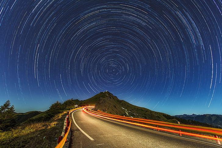 запалили, дорога, Ліхтарі, поблизу, дерева, Фотографія, Гора