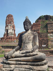 Buddha, Buddhismus, meditace, kamenná socha, Thajsko, Asie, socha