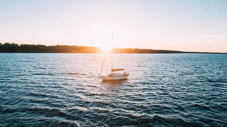 stranden, båt, Ocean, segelbåt, segling, havet, vatten
