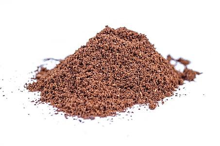 maa, pulber, valge, kakao, Suurendus:, isoleeritud, hunnik