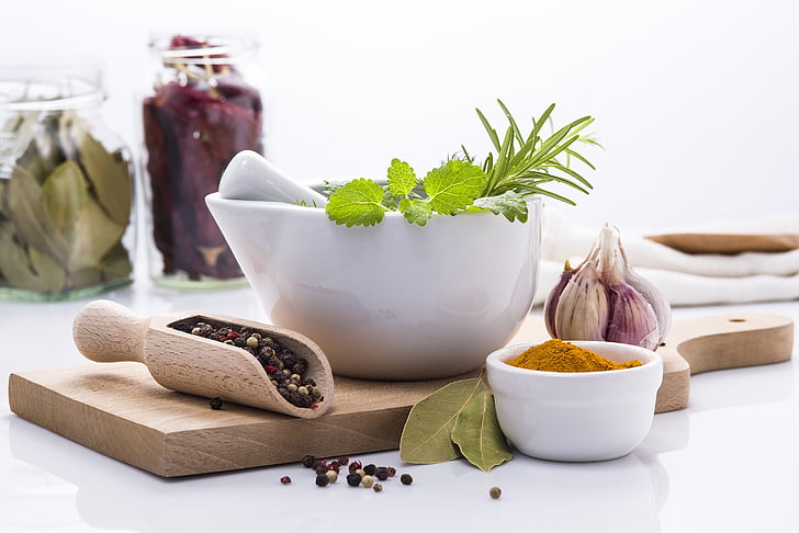 hierbas, especias, ingredientes, cocina, tablero de corte, cocina, alimentos