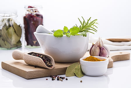 herbs, spices, ingredients, kitchen, cutting board, cooking, food