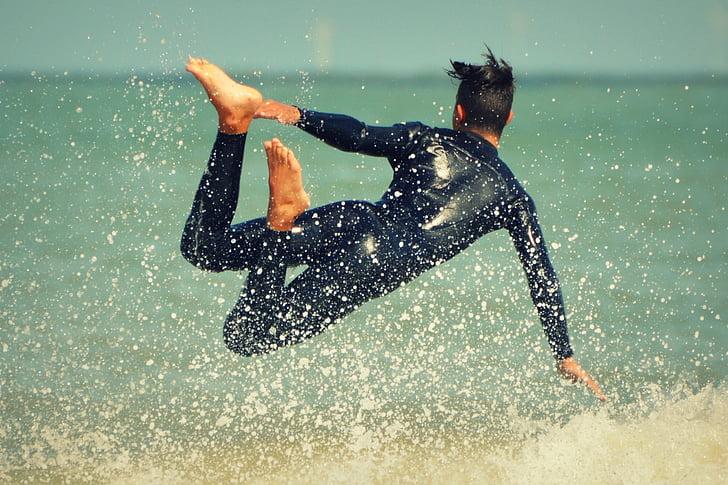 surfista, ones, home, persones, Mar, acció