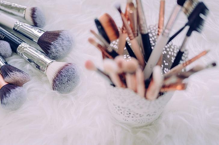 化妆, 笔刷, 事情, 散景, 模糊, 包, 美