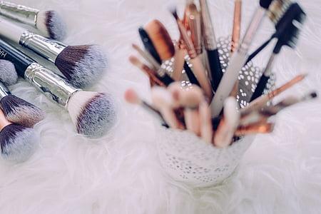 макіяж, пензель, речі, Боке, розмиття, Комплект, Краса