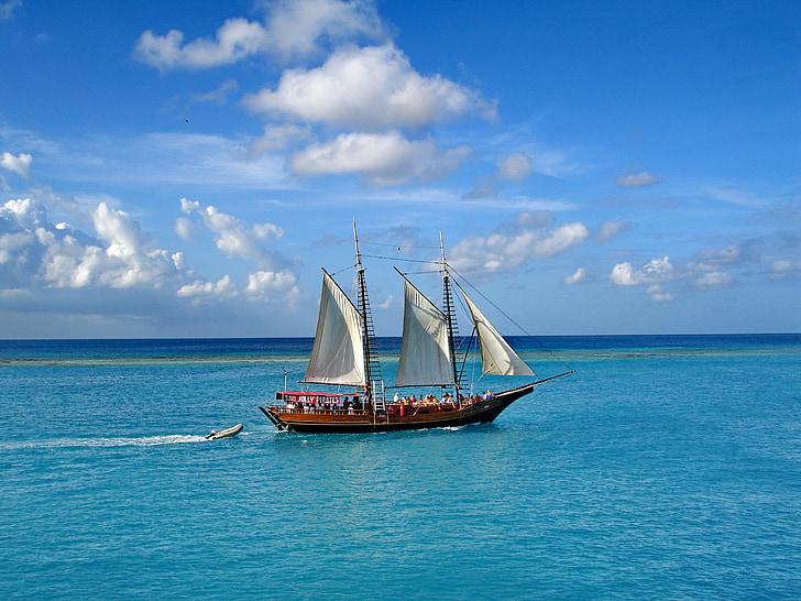 Aruba, ön, kariberna åt mängder, segelbåt