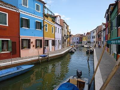 เวนิส, burano, กิโลเมตร, บ้านที่มีสีสัน