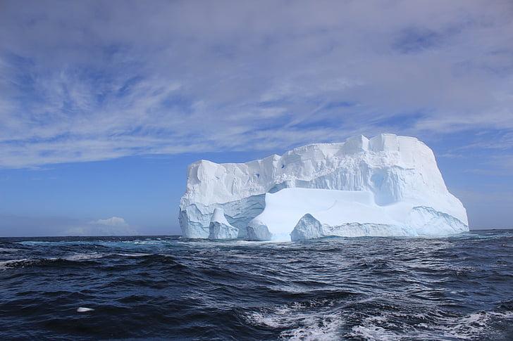 iceberg, gelo, sol, Antártica, frio, mar, geleira