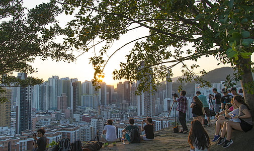 hill, urban, moon, city, skyline, landscape, cityscape