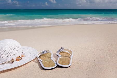 platja, Costa, flip-flops, barret, oceà, sorra, Mar