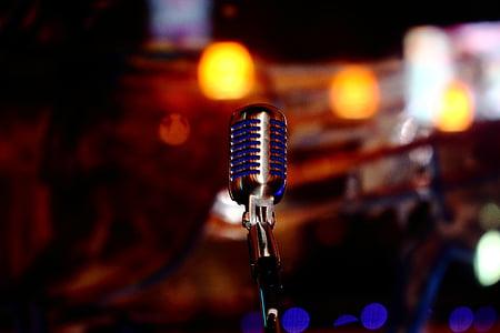 мікрофон, синій, Chrome, звук, музика, голос, аудіо