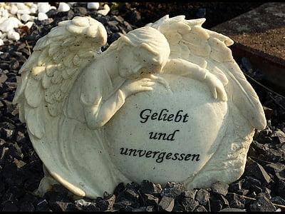 Angel, kirkegård, grav, statue, sorg, gravsten, Angel figur