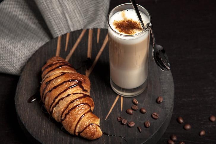 cafè, grans de cafè, croissant, postres, beguda, aliments