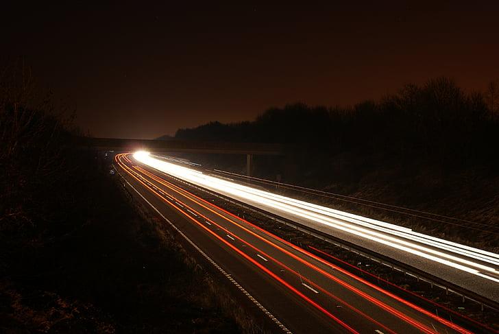 pruhy, rozmazání pohybu, světlo, dlouhá, noční, provoz, tmavý