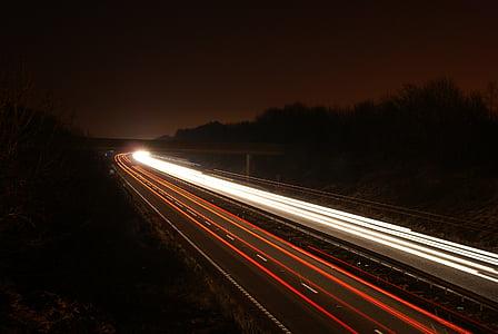 sọc, chuyển động mờ, ánh sáng, dài, đêm, lưu lượng truy cập, tối