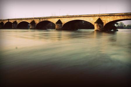 Río, puente, arquitectura, agua, Mañana, amanecer, Puente - hombre hecho estructura