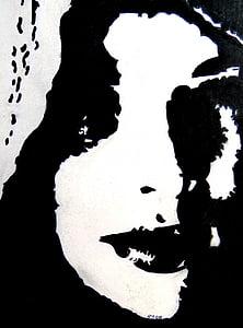 ศิลปะ, ภาพวาด, ชอล์ก, กระดาษ, ผู้หญิง, สีดำ