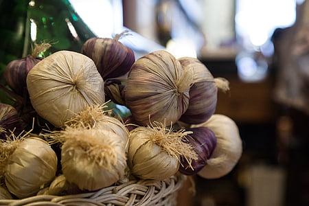 knoflook, markt, voedsel, Vegetarisch, gezonde, organische, plantaardige
