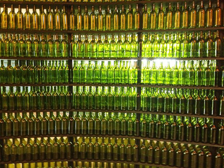 pudelid, veini pudelid, alkoholi, veini, klaas, meeleolu, jook