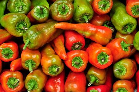 辣椒, 市场, 蔬菜, 香辣, aji, 颜色, 绿色