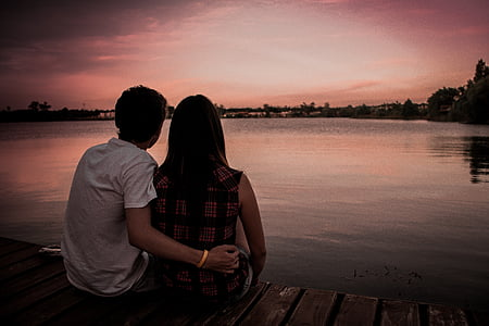 parella, l'amor, Romanç, paisatge posta de sol, parell d'amor, dona, home