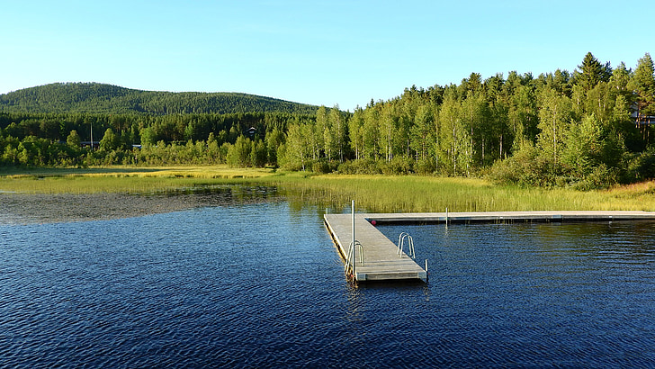 lake, sweden, pier, water, pond, edge of the pond