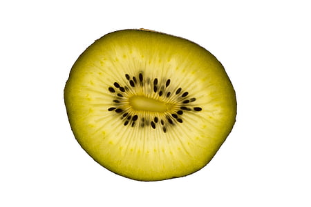 makro, hvid baggrund, frugt, Kiwi, grøn, tværsnit, cut