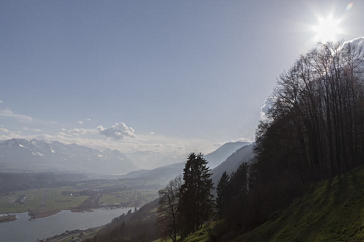 alpnachersee, abendstimmung, Закат, озеро, вечернее небо, Природа