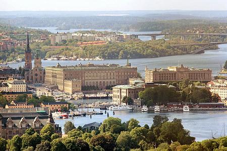 Palau Reial, Suècia, Estocolm, foto aèria, Europa, paisatge urbà, riu