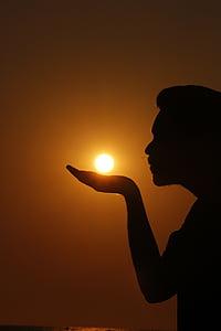 sunset, shadow, shadow man, evening, sun, outdoor, sunlight