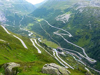 Grimsel pass, passar la carretera, unitat, muntanyes, paisatge, natura