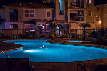 Havuzu, gece, yüzmek, Yüzme, lüks, mimari, Açık