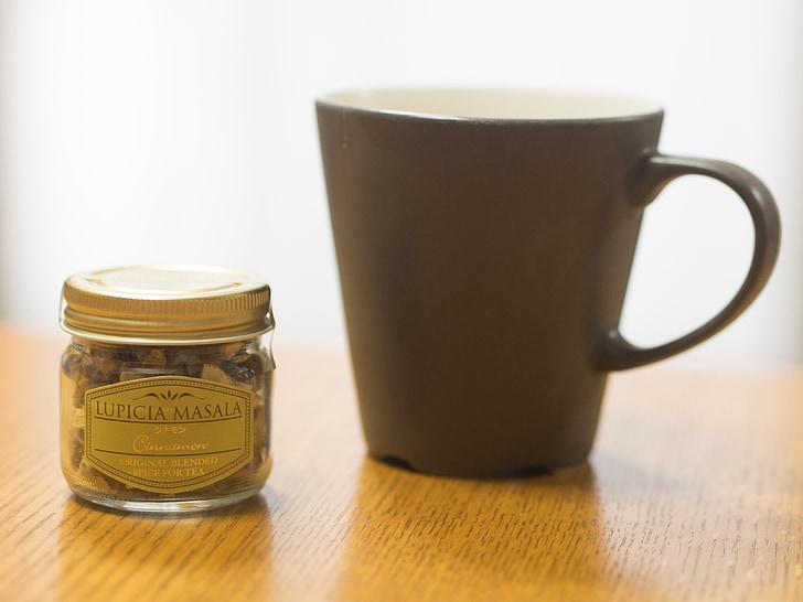 čaj vrijeme, krigla, čaj, popodne, mala bočica