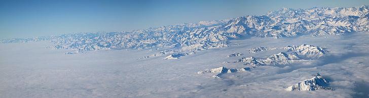 panoràmica, núvols, muntanyes, Milà, alpí